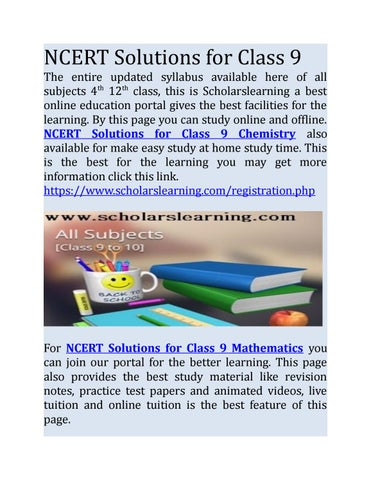 Ncert solutions for class 9 by Scholars Learning - issuu