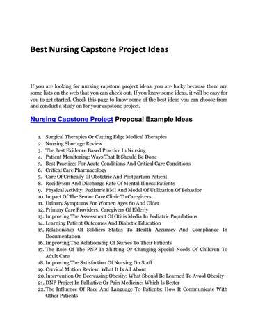 Learn Of The Best Nursing Capstone Project Ideas By Best Capstone