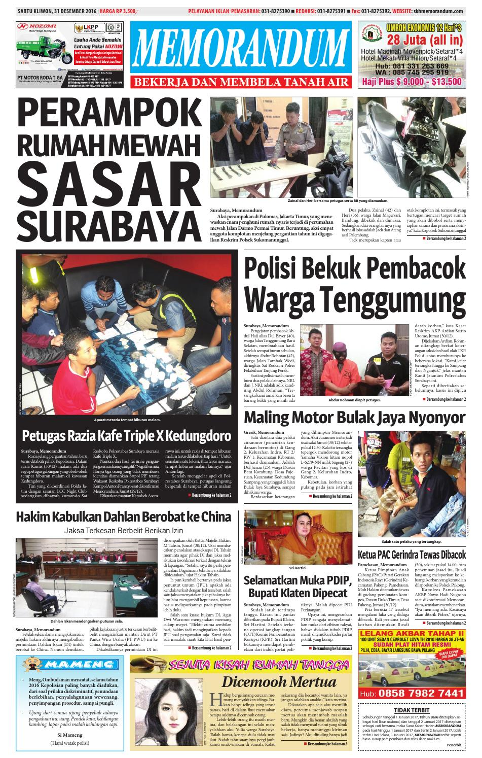 memorandum edisi 31 desember 2016 by memorandum issuu