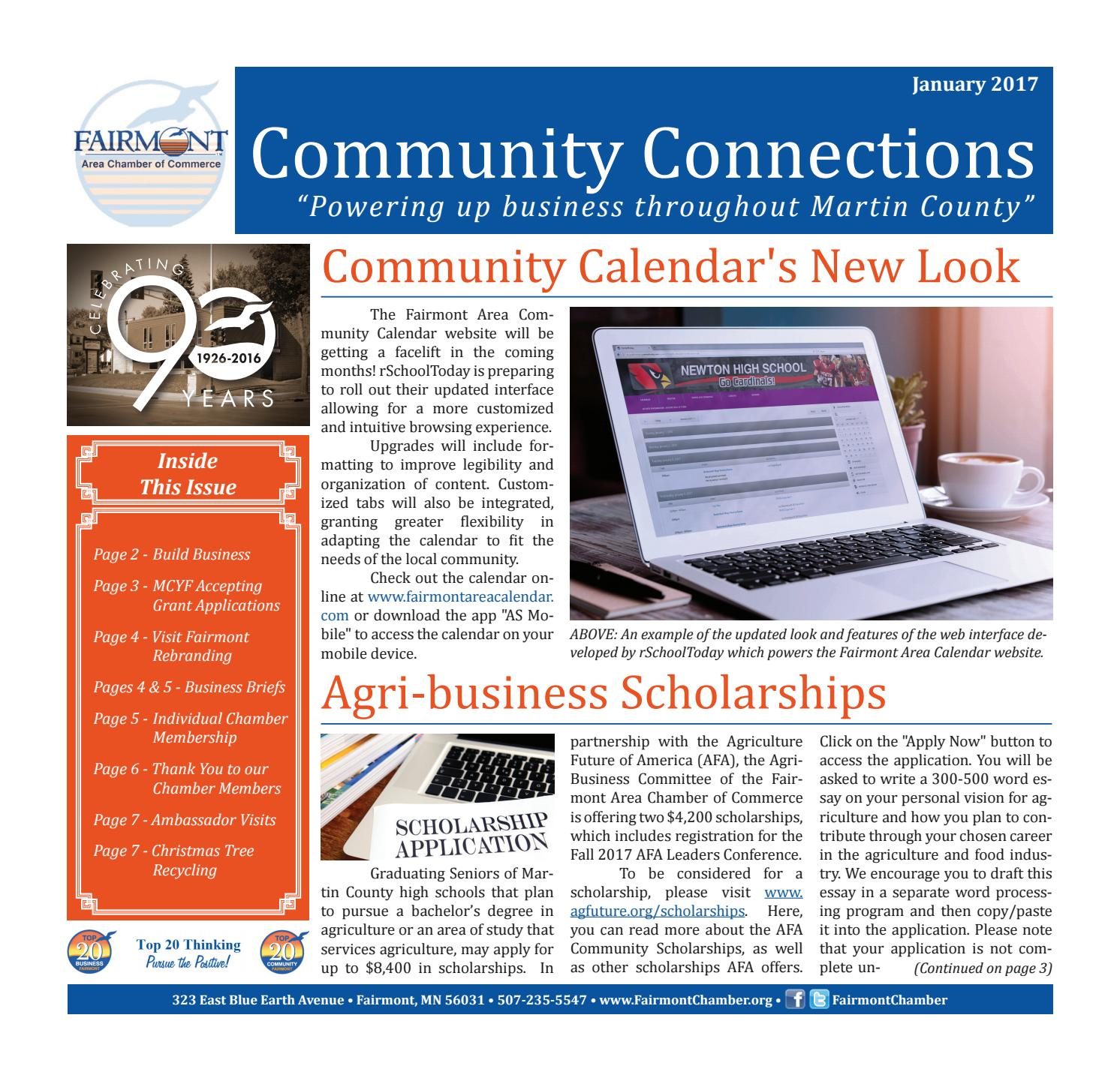january 2017 fairmont area chamber newsletter by margaret dillard