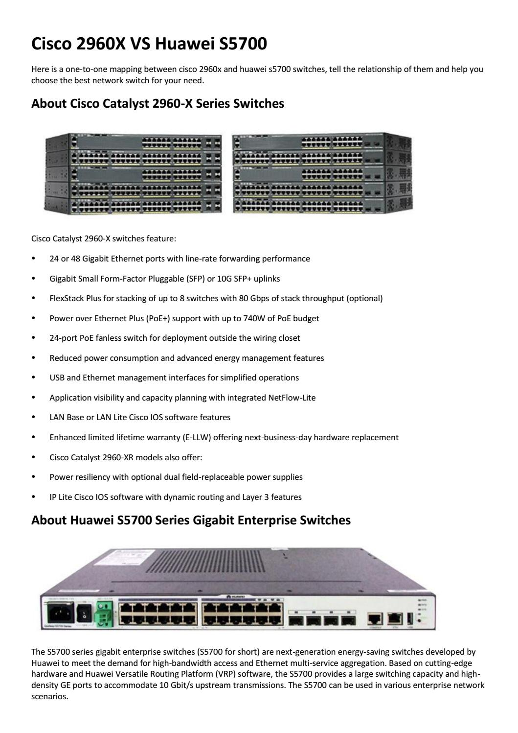 Cisco 2960x vs huawei s5700 switches by Genevicost - issuu