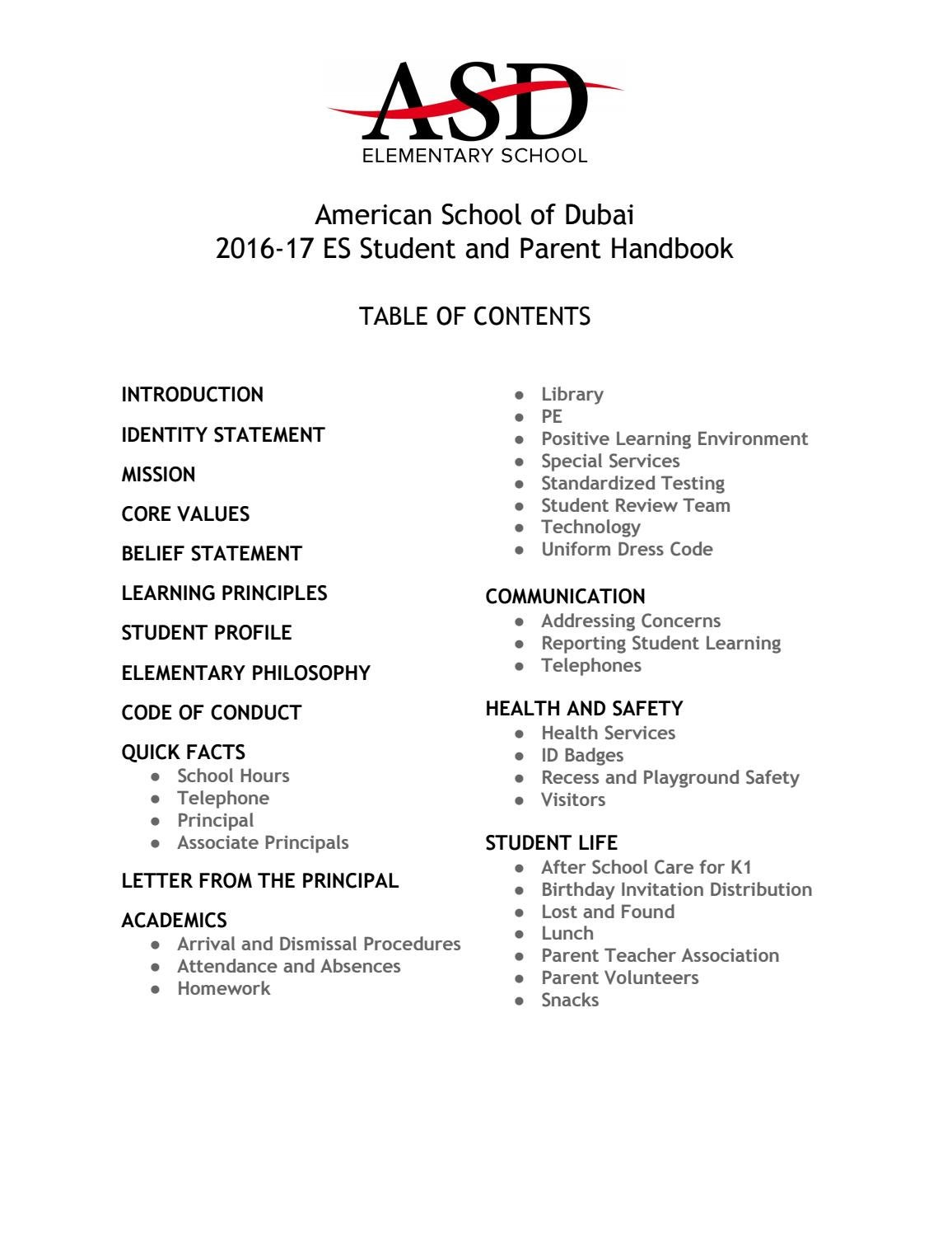 2016 2017 ES Student And Parent Handbook By American