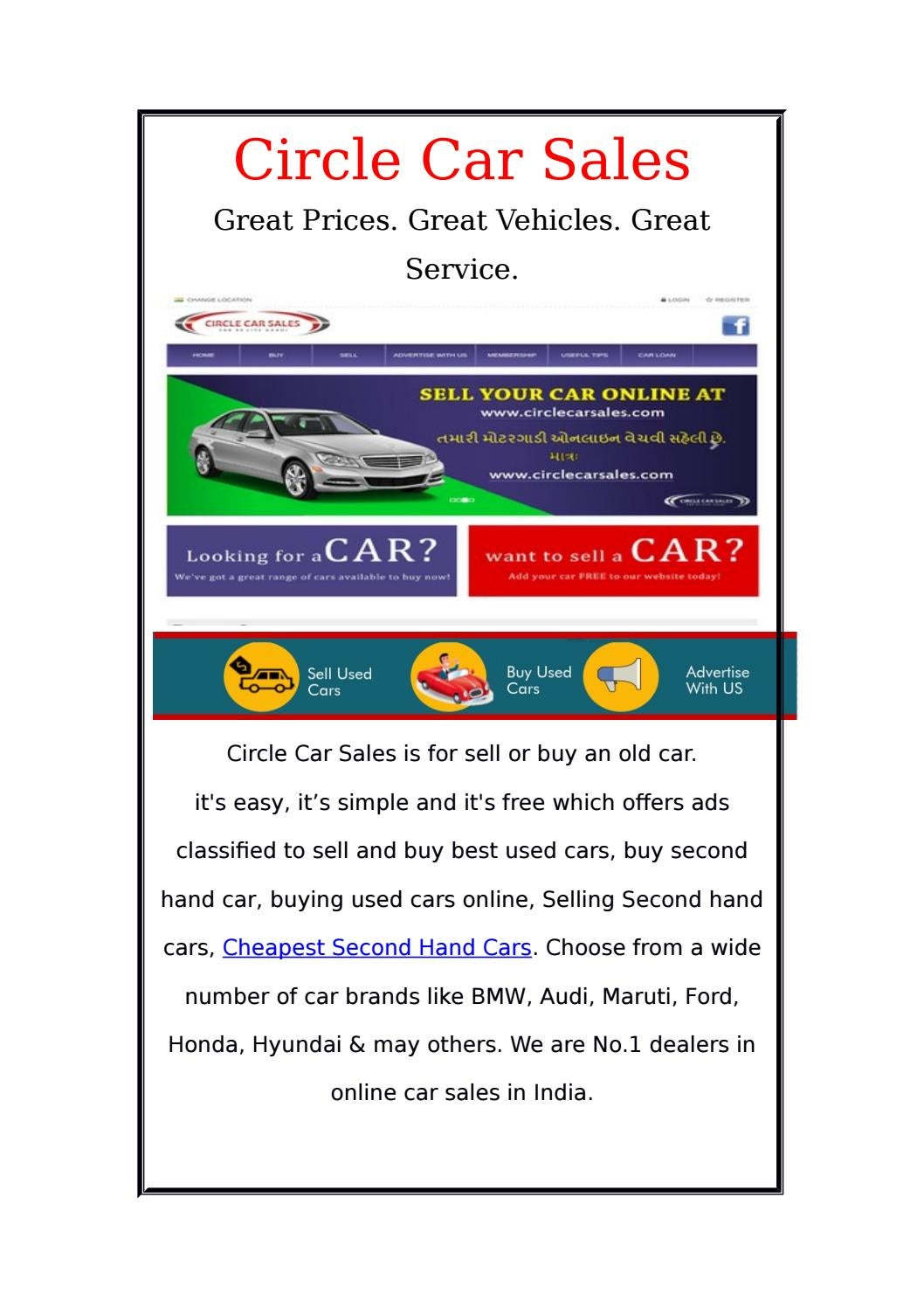 Tips To Buy Second Hand Cars Online In India By Circle Car Sales Issuu