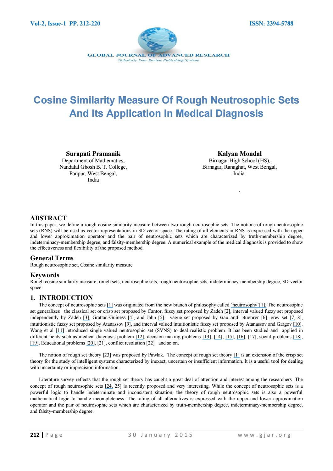 Cosine Similarity Measure Of Rough Neutrosophic Sets And Its