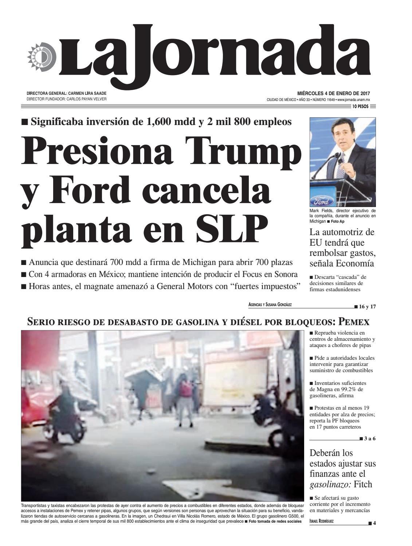 the best attitude b7af8 98520 La Jornada, 01 04 2017 by La Jornada  DEMOS Desarrollo de Medios SA de CV -  issuu