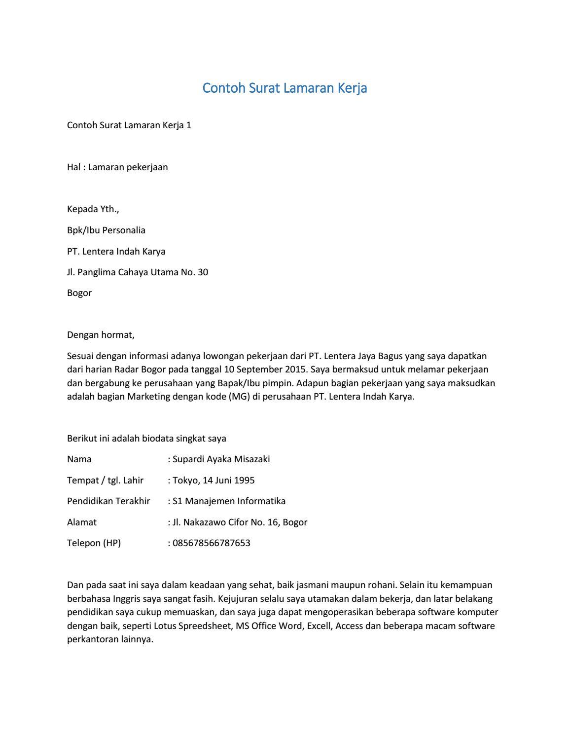 contoh surat lamaran kerja yang memikat perusahaan contoh ...