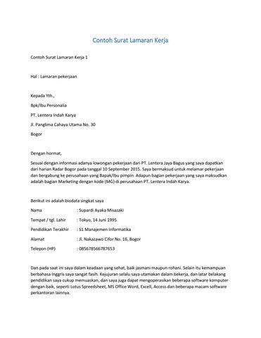Contoh Surat Lamaran Kerja By Satriabajahitam Issuu