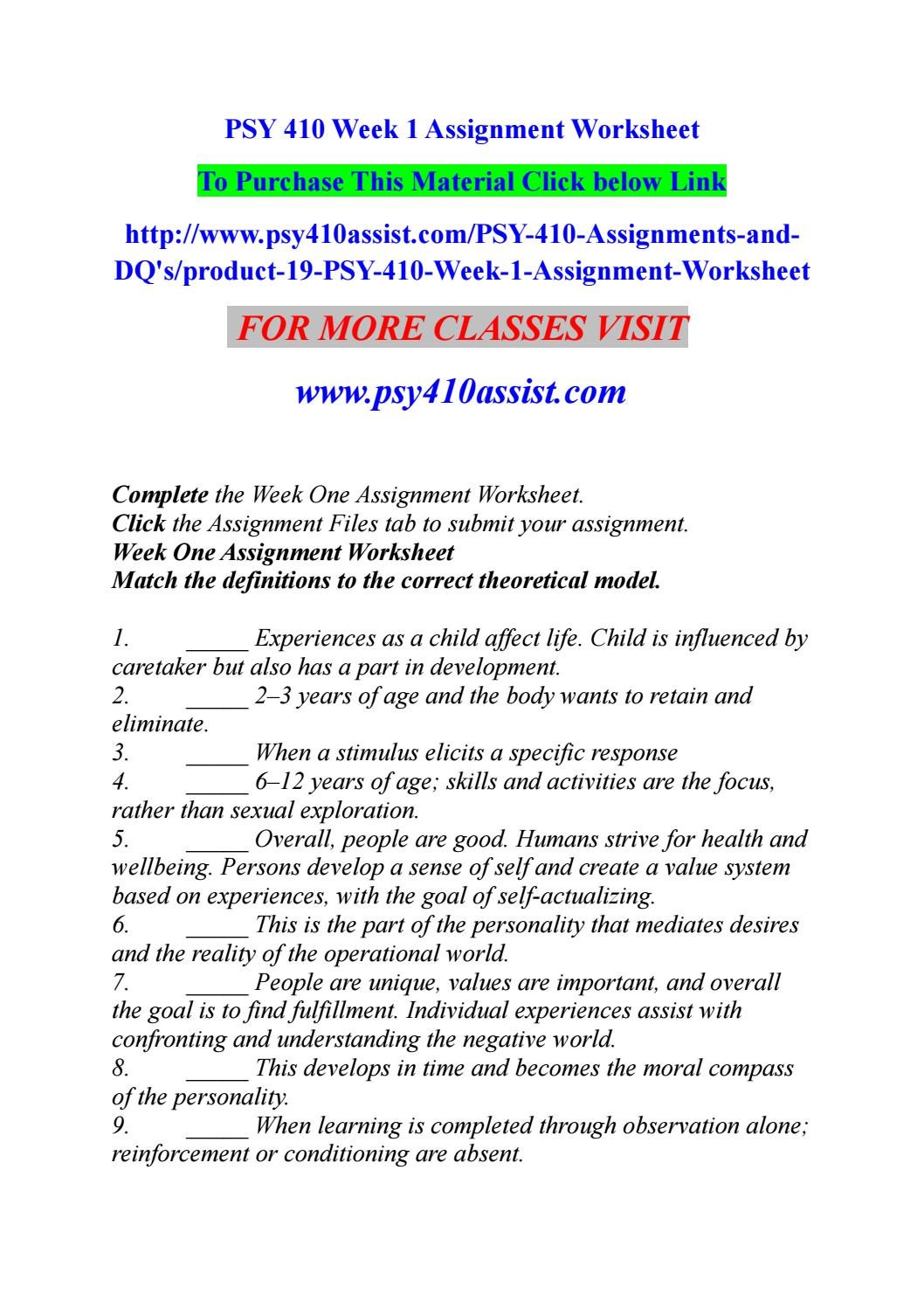 psy 410 week 1 worksheet
