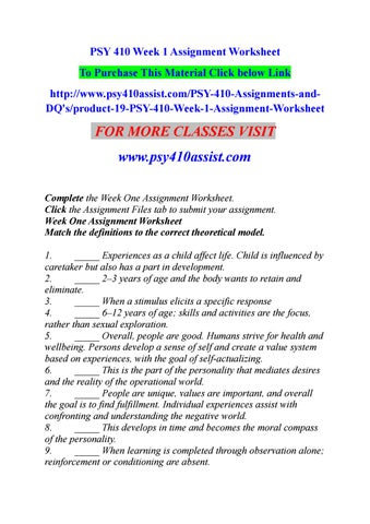 week two assignment worksheet psy 410
