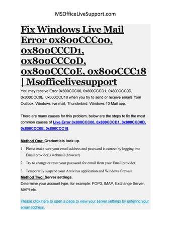 Fix Windows Live Mail Error 0x800CCC00, 0x800CCCD1