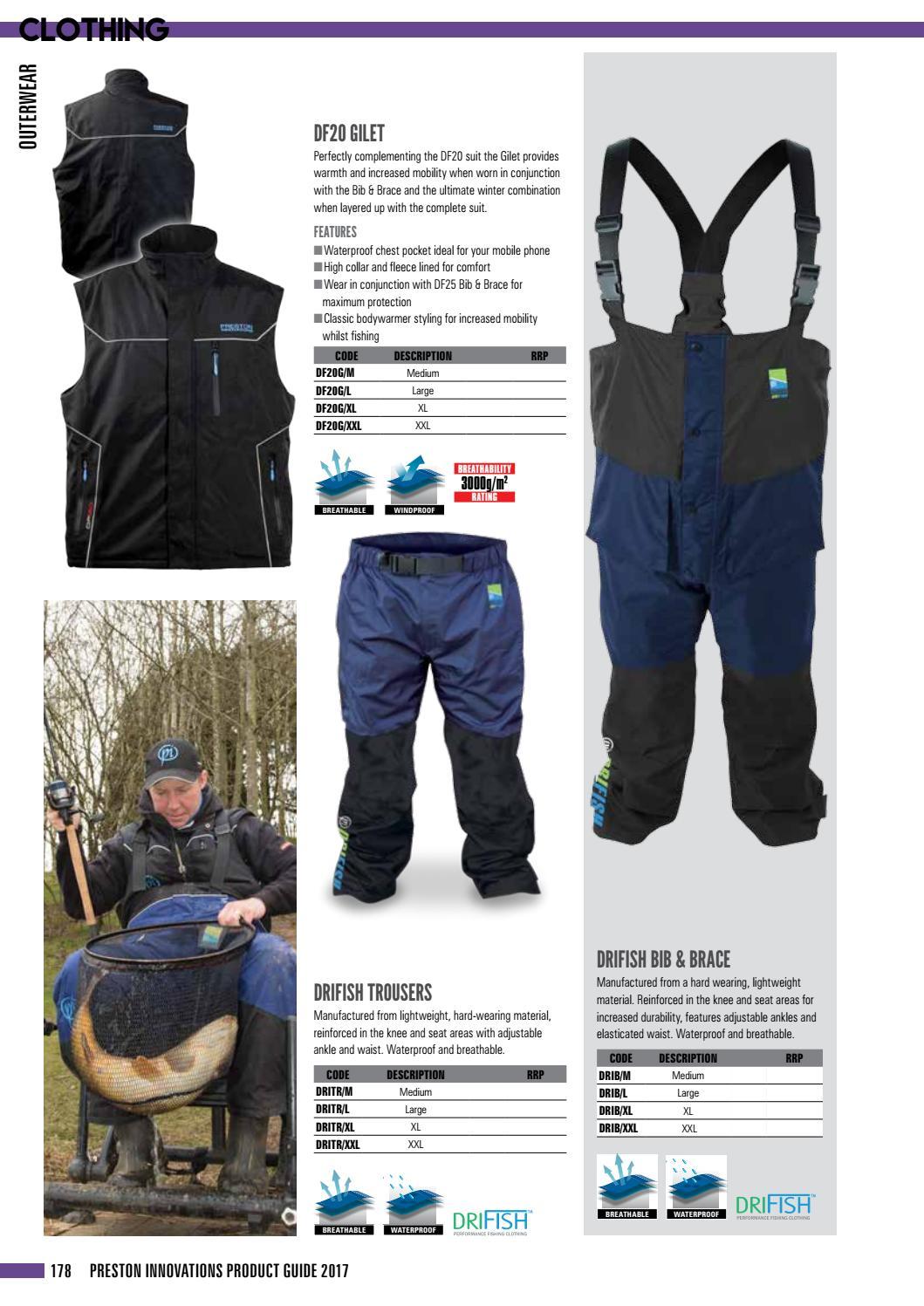 Preston Innovations Drifish Bib /& Brace or Trousers Waterproof All Sizes Fishing