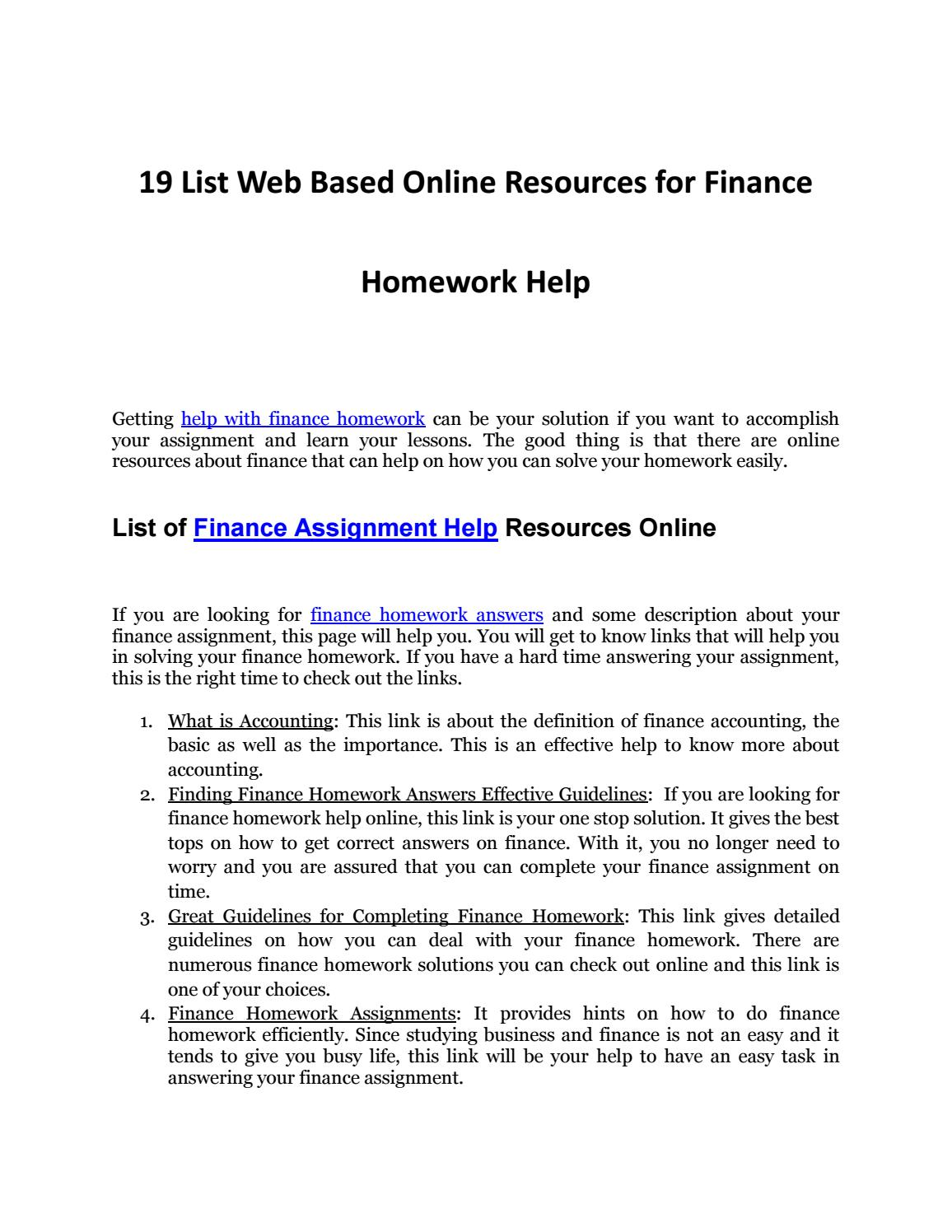 discover help finance homework web resources by finance discover 19 help finance homework web resources by finance homework help issuu