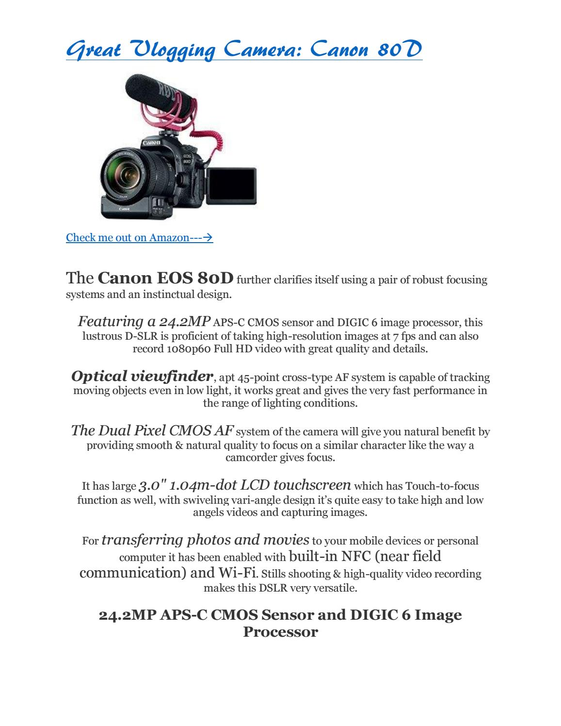 Great Vlogging Camera: Canon 80D by vintoewenzachari - issuu
