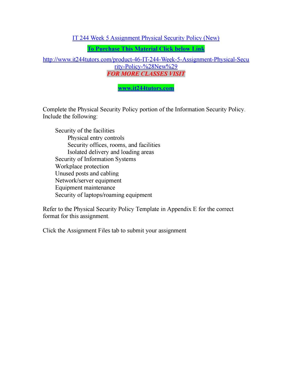 It 244 Week 5 Assignment Physical Security Policy New By