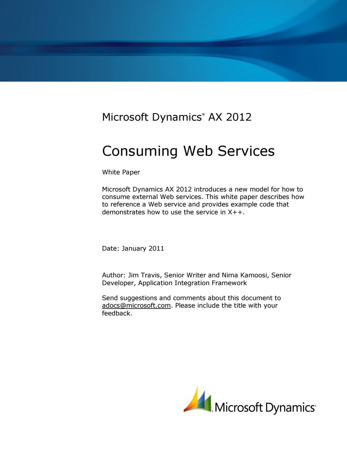 Microsoft Dynamics AX 2012 - Consuming web services by ANEGIS
