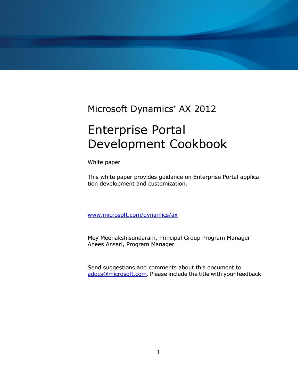 Microsoft Dynamics AX 2012 - Enterprise portal development