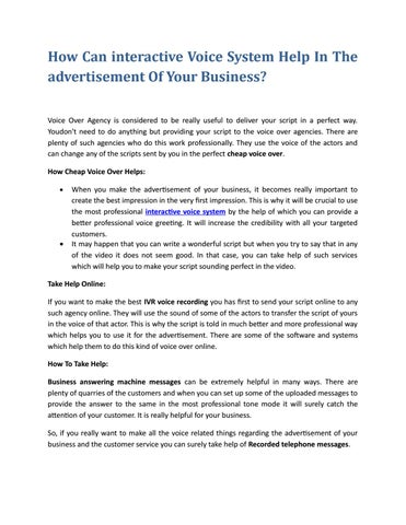 Professional voice mail by alicecarners issuu how can interactive voice system help in the advertisement of your business voice over agency is considered to be really useful to deliver your script in a m4hsunfo