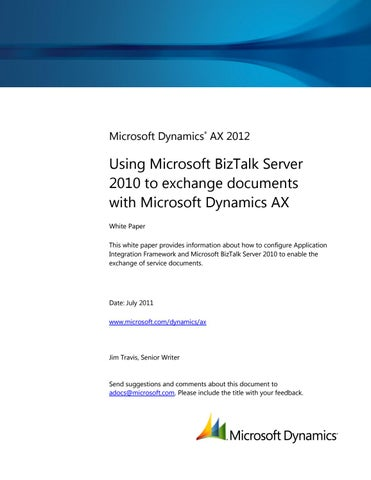 Microsoft Dynamics AX 2012 - Using Microsoft BizTalk Server 2010 to ...