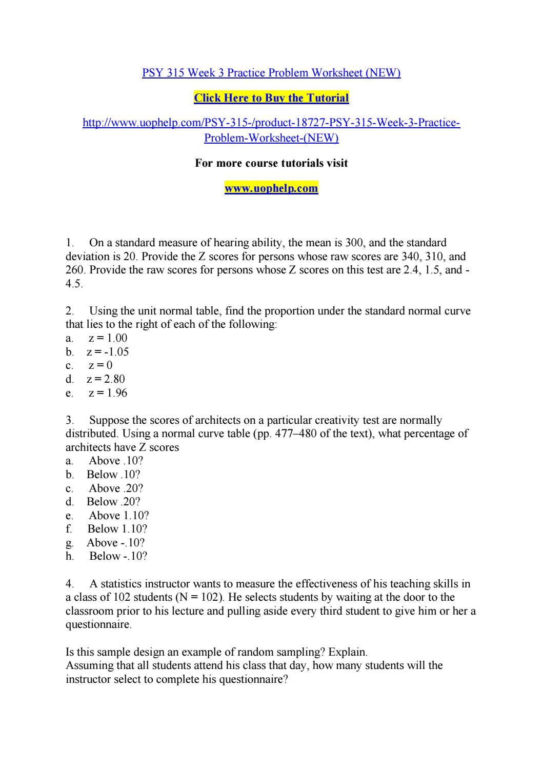 Psy 24 week 24 practice problem worksheet (new) by pinck24 - issuu Intended For Z Score Practice Worksheet