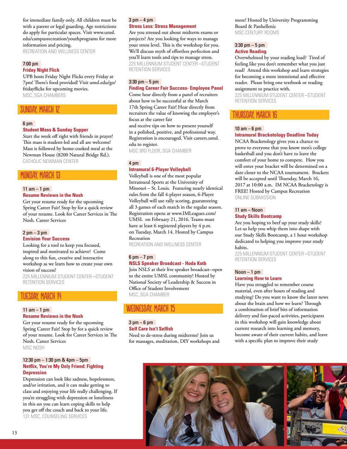 UMSL Weeks of Welcome Booklet Spring 2017 by UMSL New