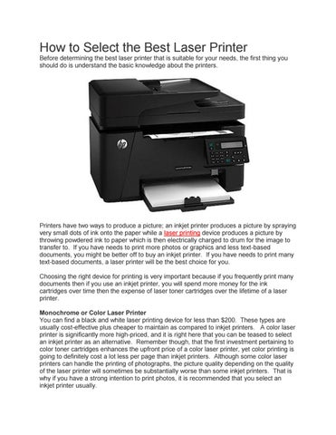 Best laser printer for image transfer
