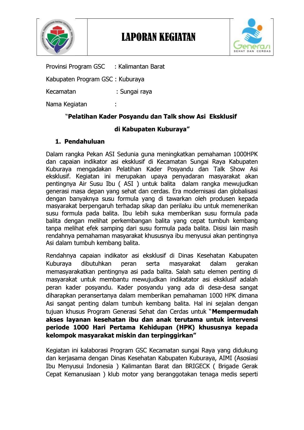 Warta Gsc Kuburaya Pelatihan Kader Posyandu By Thedjo Aza Issuu