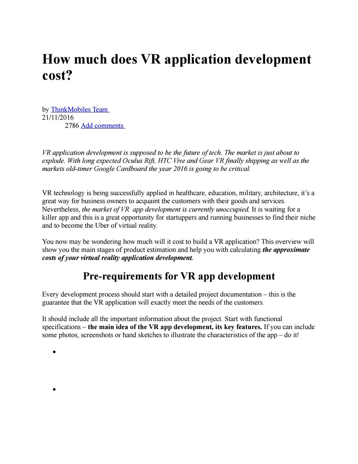 How much does vr application development cost by Oyejide Smart - issuu