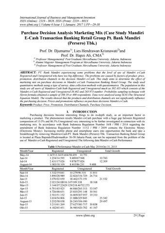 Purchase Decision Analysis Marketing Mix Case Study Mandiri E Cash Transaction Banking Retail Group By Invention Journals Issuu