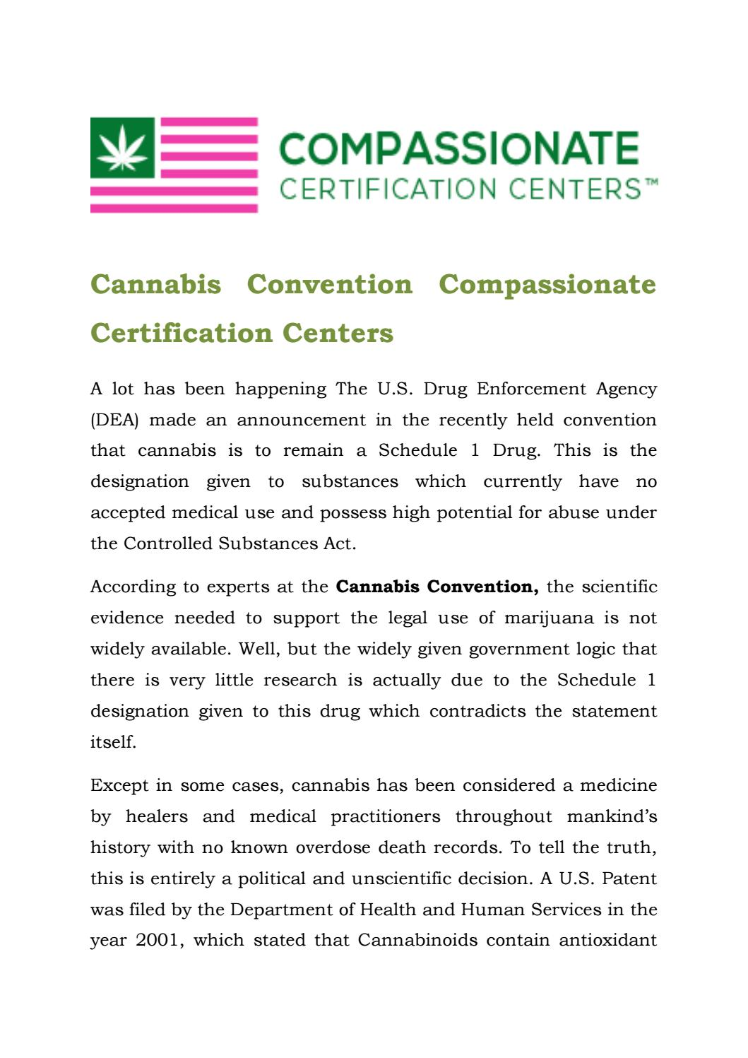 Cannabis Convention Compassionate Certification Centers By