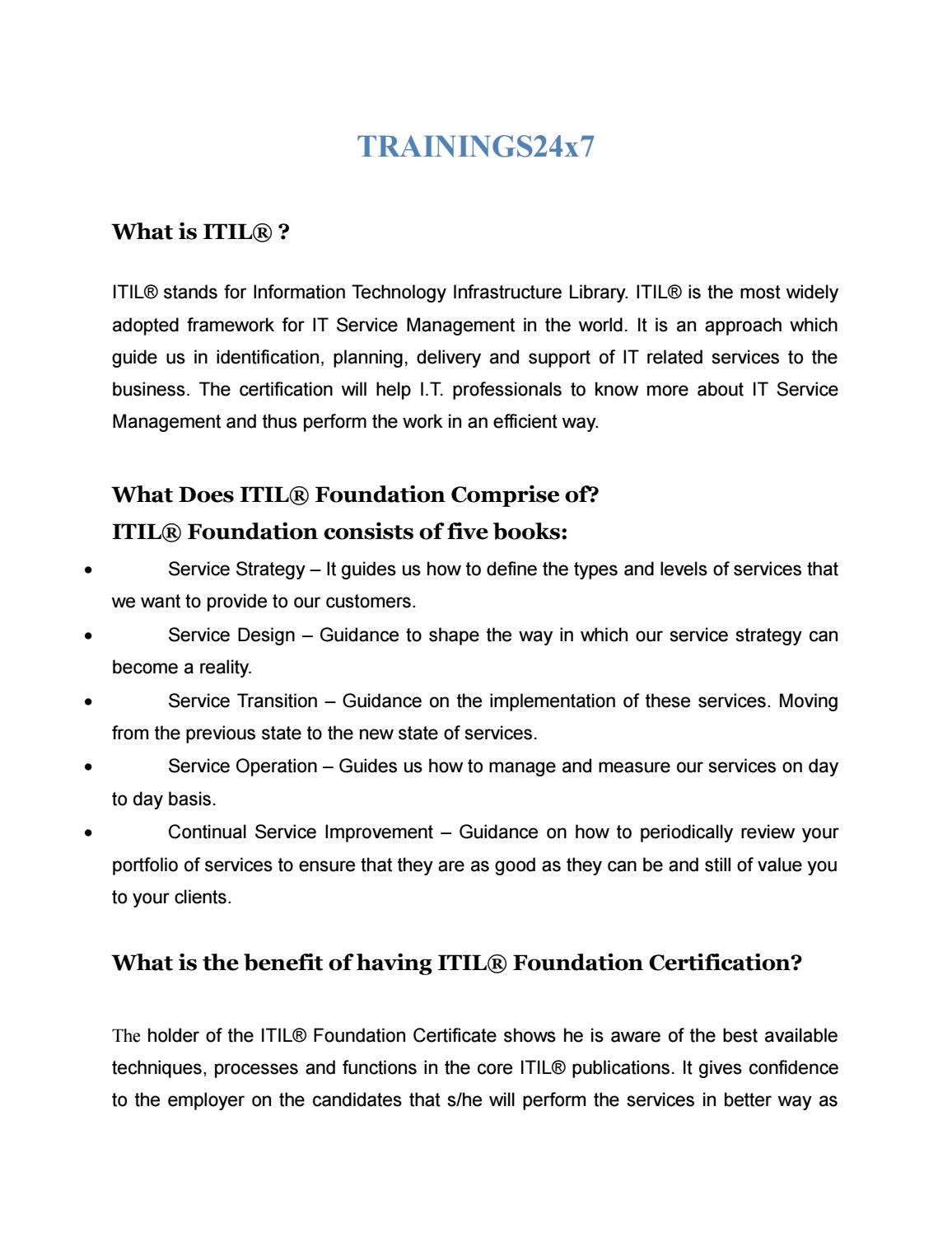 Itil Foundation Course Overview By Trainings24x7 Issuu