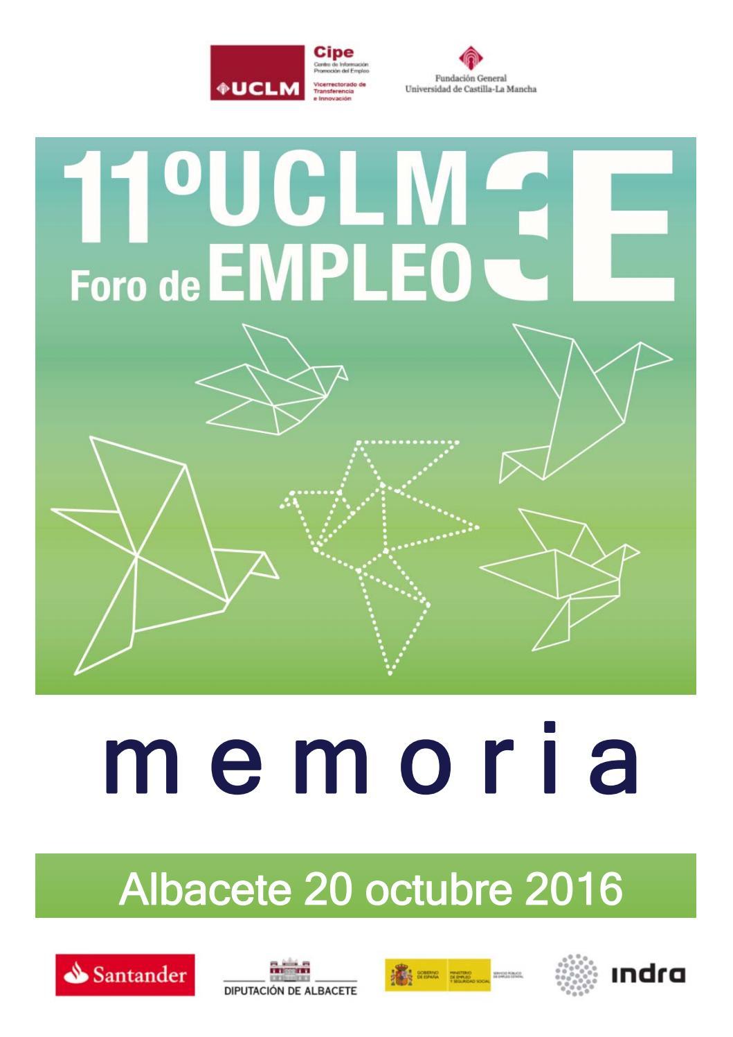 Memoria 11º foro de empleo UCLM3E / año 2016 by CIPE-UCLM - issuu