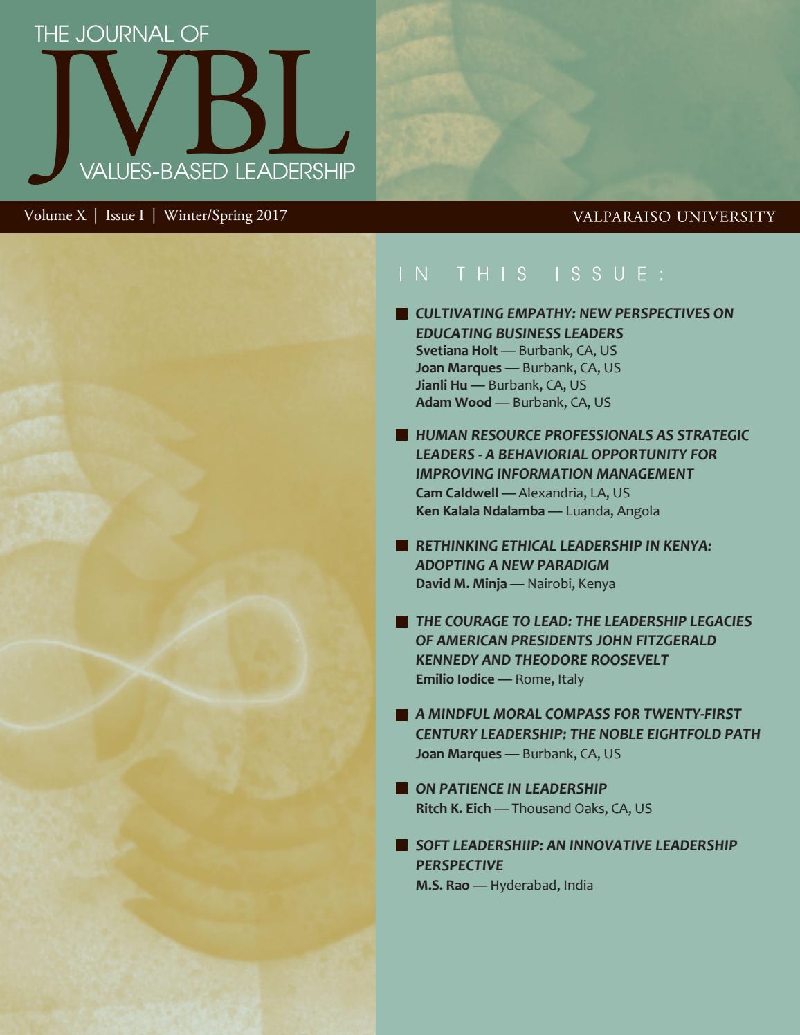 Journal Of Values Based Leadership Winter Spring 2017 By ValpoScholar