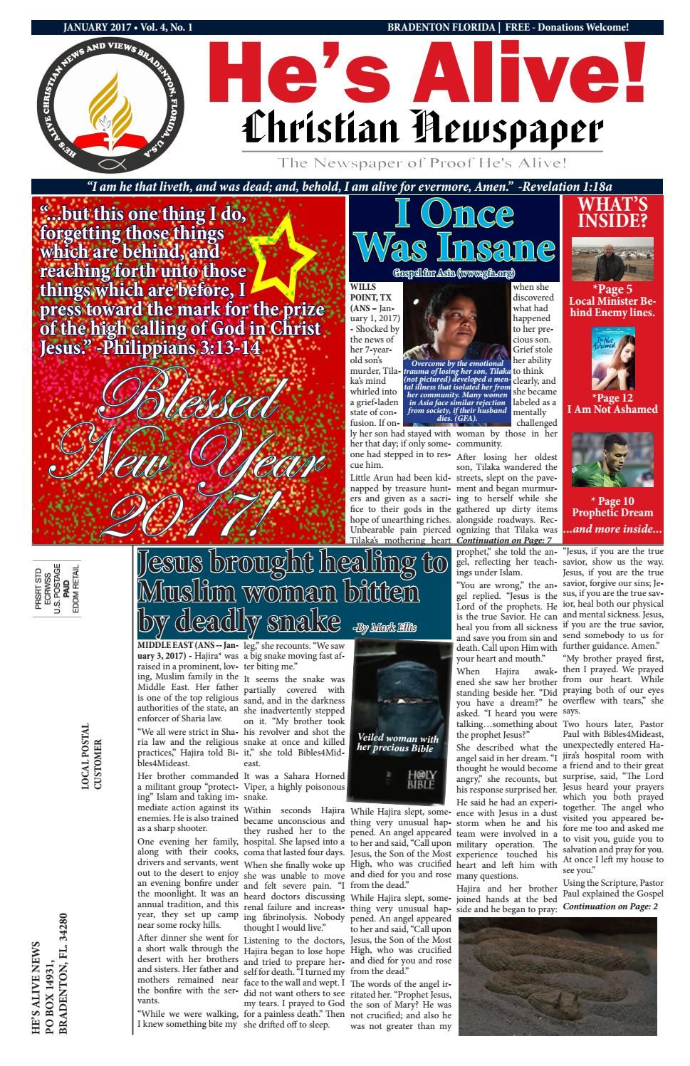 HE'S ALIVE CHRISTIAN NEWS AND VIEWS -January 2017 edition by