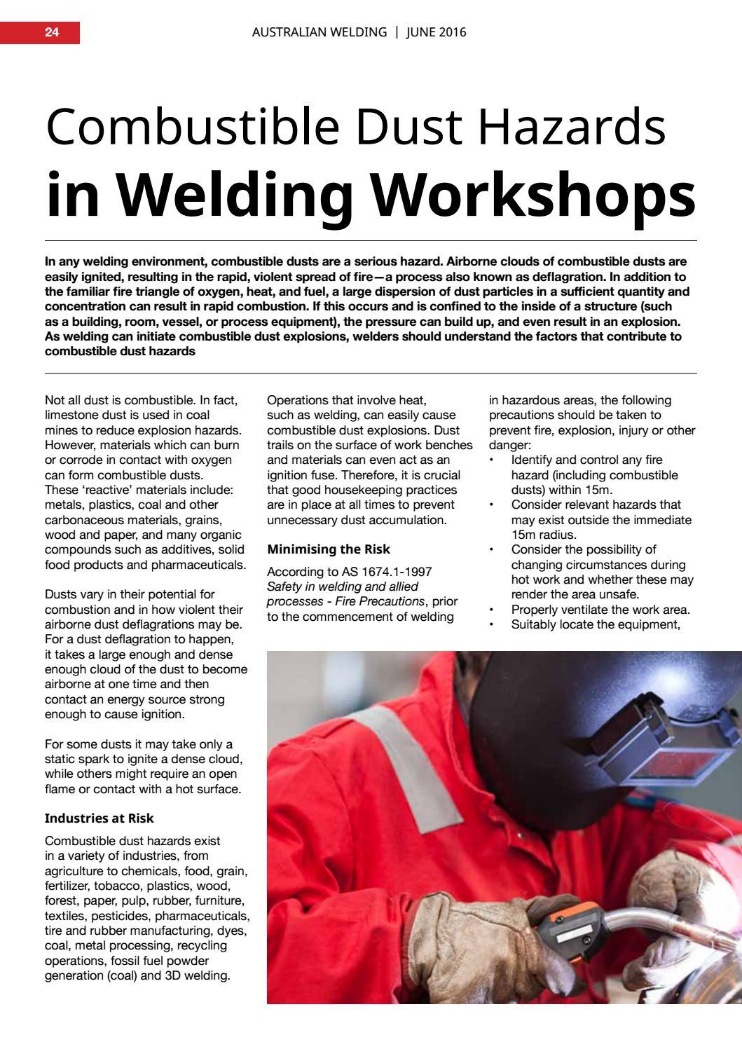 Combustible dust hazards in welding workshops by Weld Australia - issuu