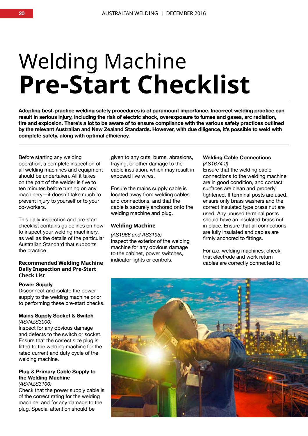 welding machine pre start checklist by weld australia
