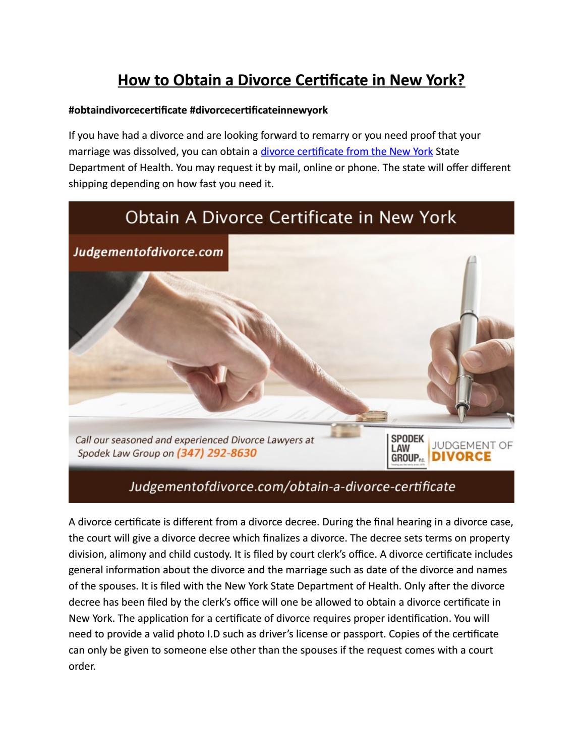 Obtain A Divorce Certificate Judgement Of Divorce By Divorce