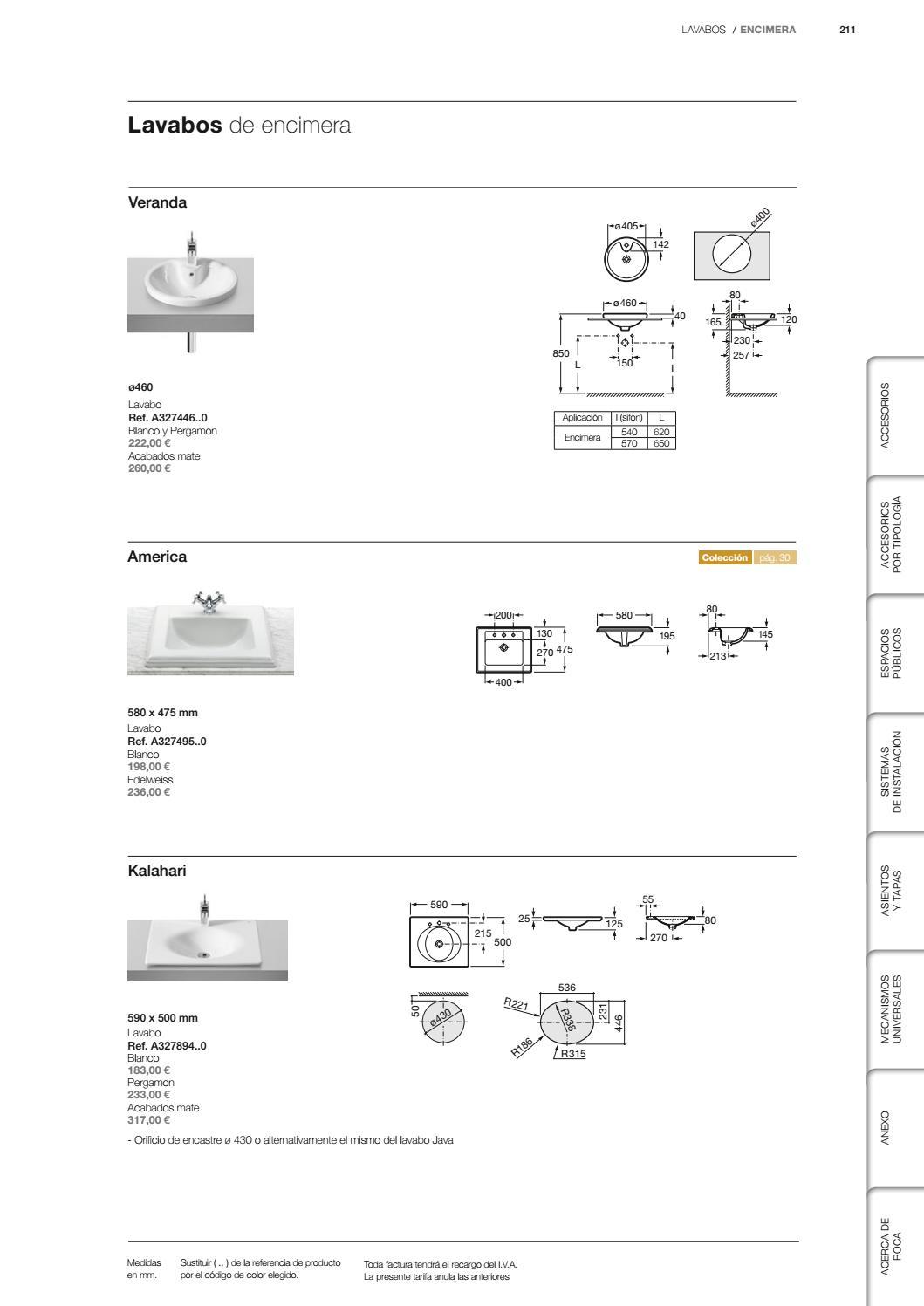 Lavabo Java Roca Medidas.Roca Catalogo Tarifa Colecciones De Bano Muebles Y