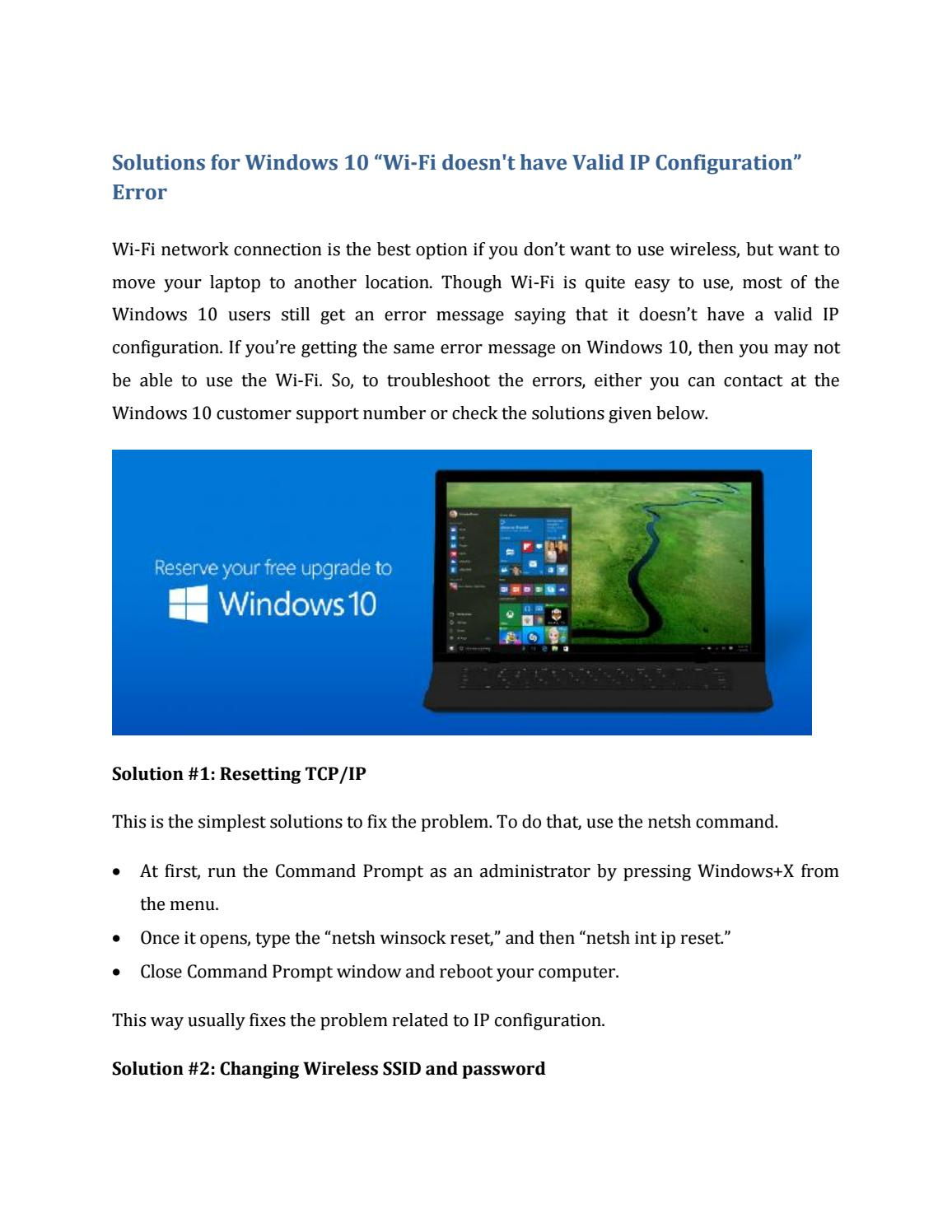 """Wireless Network Connection Doesn T Have A Valid Ip Configuration >> Solutions for windows 10 """"wi fi doesn't have valid ip configuration"""" error by lilyjames - Issuu"""
