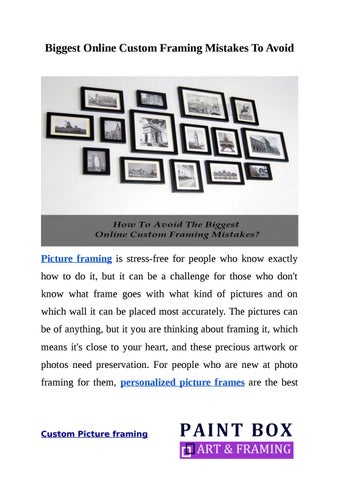 How to evade common mistakes of custom picture framing ? by ...