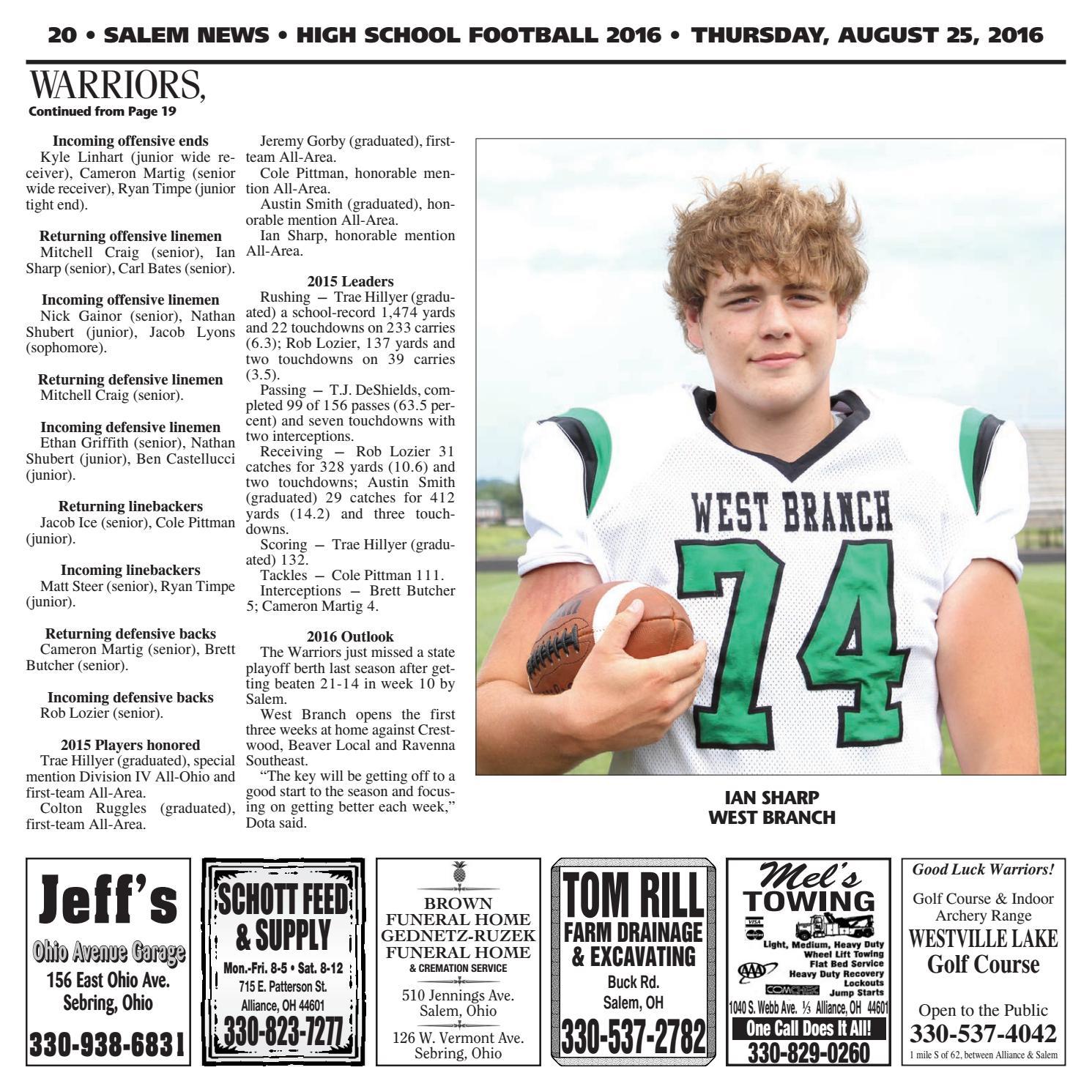Salem News - Football 2016 by Morning Journal - issuu