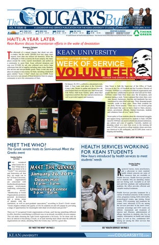 Kean Health Services >> Kean University The Cougar S Byte January 25 2011 By
