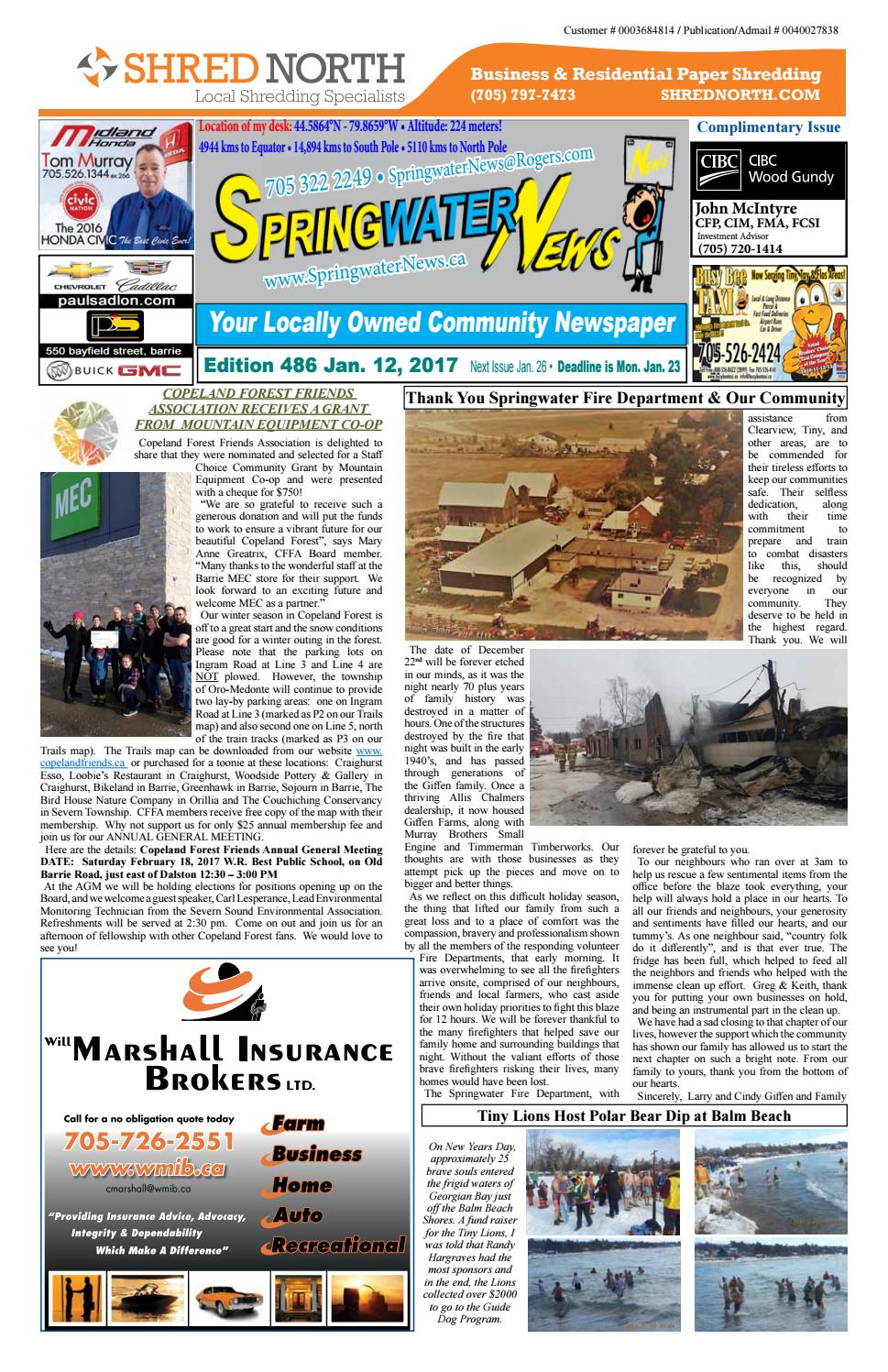 January 12 2017 edition 486 for web by Springwater News - issuu