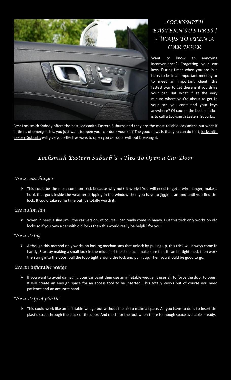 5 Ways To Open A Car Door By Alex Issuu