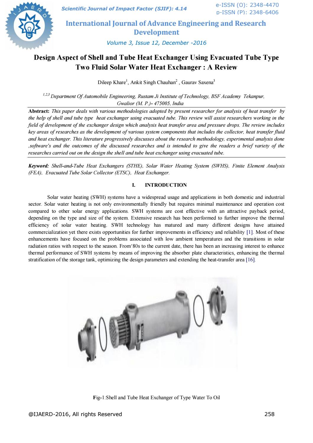 Design Aspect Of Shell And Tube Heat Exchanger Using Evacuated Piping Layout Type Two Fluid Solar Water By Editor Ijaerd Issuu