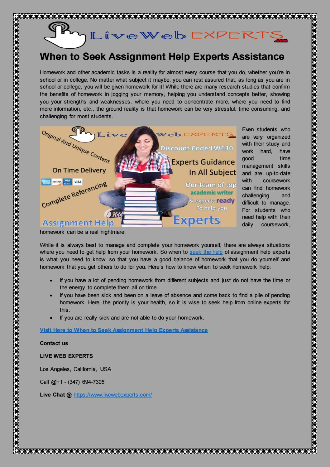 when to seek assignment help experts assistance by ryan swayar issuu