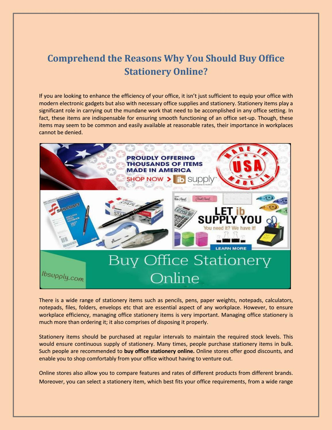 Comprehend The Reasons Why You Should Office Stationery Online By Ib Supply Issuu