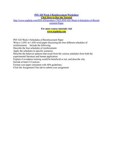 Psy 420 Week 3 Reinforcement Worksheet By Pinck101 Issuu