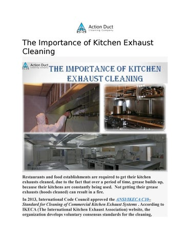 The importance of kitchen exhaust cleaning by ActionDuct - issuu