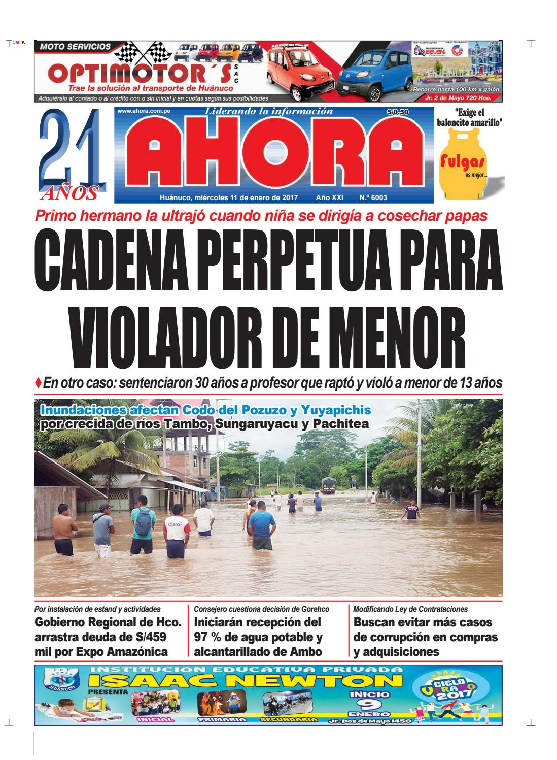 Edición diario ahora 11 01 2017 by Diario Ahora Huánuco - issuu