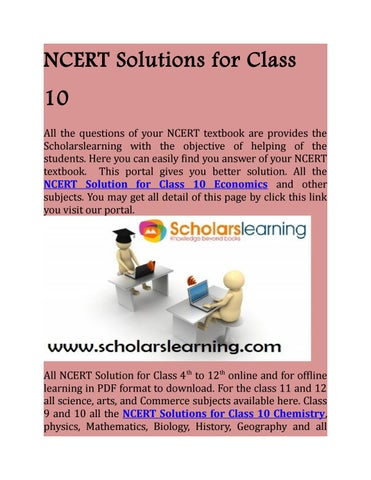 Ncert solutions for class 10 by Scholars Learning - issuu